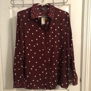 Primark Burgundy Polka Dot Blouse